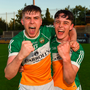 John Murphy, left, celebrates with team-mate Brian Duignan following the Bord Gáis Energy Leinster Hurling U20 Championship quarter-final win over Dublin at Parnell Park in Dublin. Photo: Eóin Noonan/Sportsfile