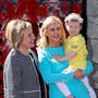 Serious fun: Hillary Clinton and Dee Ahearn of Barretstown celebrated the 25th year of the charity's operation with Elsie Mae Scally (4), a camper who is undergoing treatment for leukaemia. Photo: Maxwells