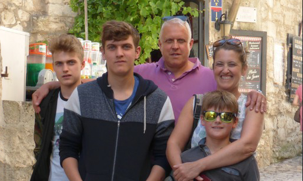 Arlene Harris on vacation with her husband Mark and sons (from left) Cailan, Tadhg and Rodhan
