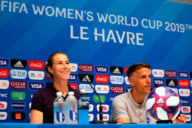 England goalkeeper Karen Bardsley (left) and head coach Phil Neville during the press conference at Stade Oceane, Le Havre, France. Photo credit: Richard Sellers/PA Wire.