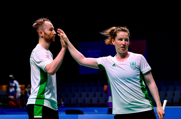 Ireland's Sam Magee and Chloe Magee congratulate each other following victory during their Mixed Badminton Doubles group stage match against Krestina Silich and Aliaksei Konakh on Day Seven of the 2019 European Games in Minsk, Belarus. Photo: Seb Daly/Sportsfile