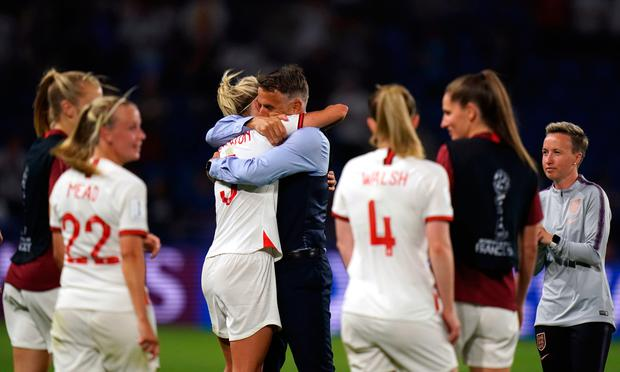 England head coach Phil Neville celebrates victory with Steph Houghton after the Women's World Cup quarter-final win in Le Havre, France.Photo: John Walton/PA Wire.