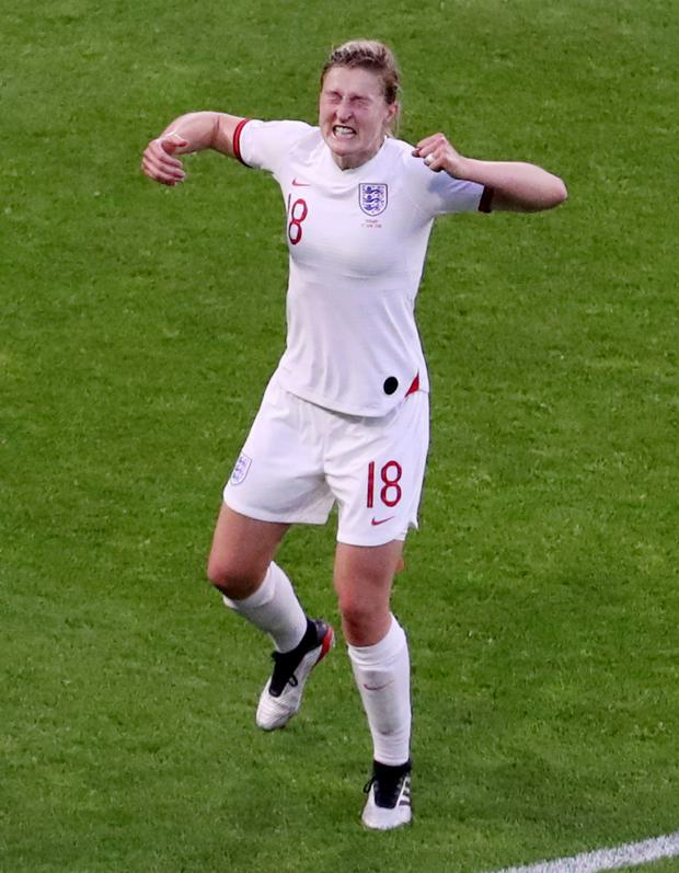 Ellen White celebrates scoring England's second goal against Norway