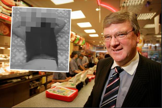 Supermac's CEO Pat McDonagh and inset, CCTV footage of the incident