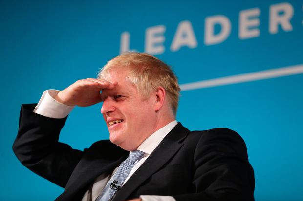 Not backing down: Boris Johnson speaking at Bournemouth Pavilion Theatre during a Tory leadership hustings. Photo: PA