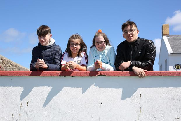 Students Josh Moore (16), Sinead Kavanagh (14), Fódhla Ferry (14) and Callum Ledwidge (18) at Coláiste Bun an Inbhir, Co Donegal. Photo: Lorcan Doherty