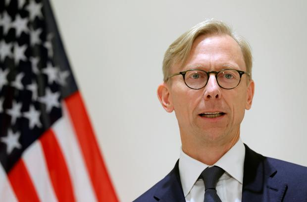 Sanctions: Brian Hook, US Special Representative for Iran, speaks at a news conference in London. Photo: Reuters