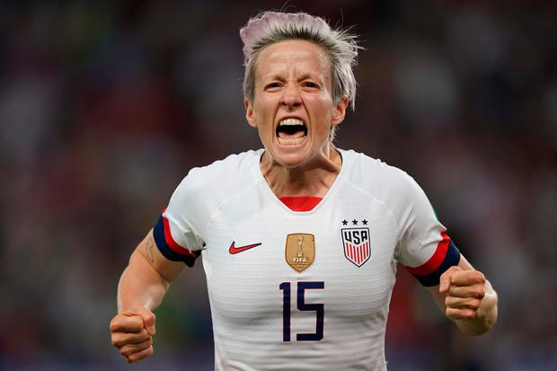 United States' forward Megan Rapinoe celebrates after scoring the first of her two goals in last night's quarter-final against France. Photo: AFP/Getty