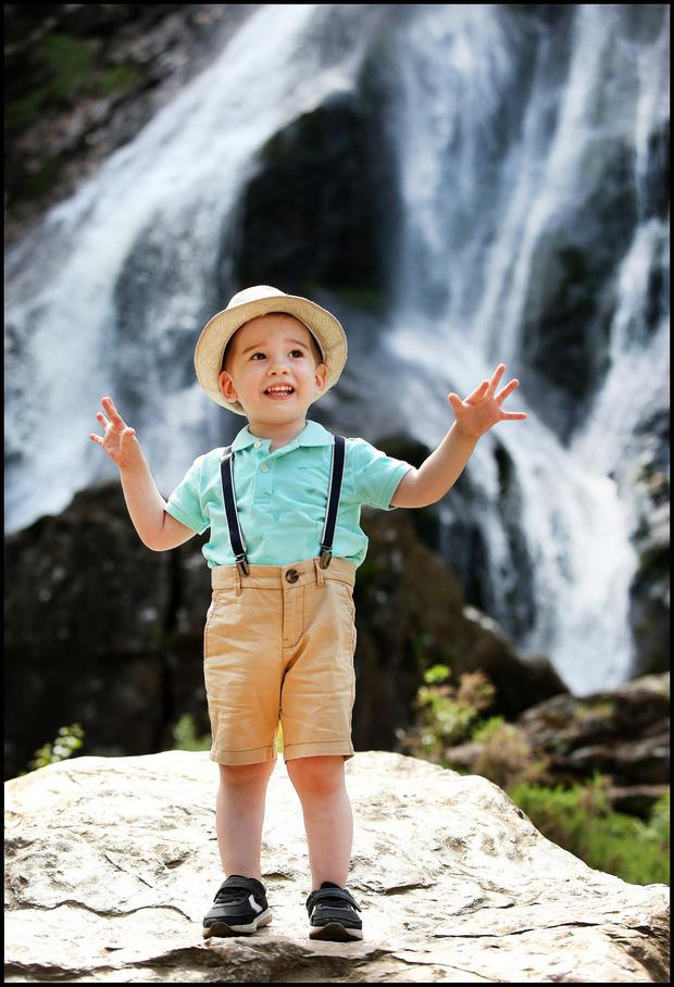 Dylan Maury (2), from Castleknock, at Powerscourt in Co Wicklow. Photo: Steve Humphreys