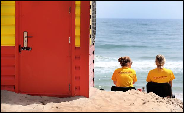Lifeguards at Brittas Bay beach in Co Wicklow. Photo: Steve Humphreys