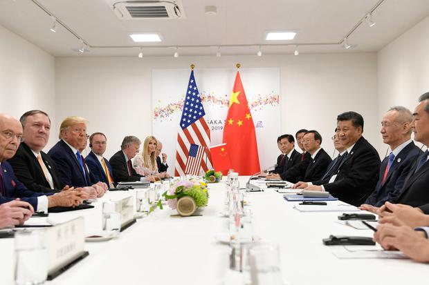 President Donald Trump meets with Chinese President Xi Jinping, third from right, during a meeting on the sidelines of the G-20 summit in Osaka, Japan, Saturday, June 29, 2019. (AP Photo/Susan Walsh)