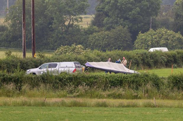 The scene of the light aircraft crash near Gowran Co. Kilkenny. Picture Dylan Vaughan