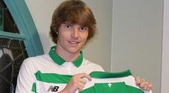 Ireland U19 international Luca Connell after signing four-year deal with Celtic. Photo Credit: @CelticFC Twitter