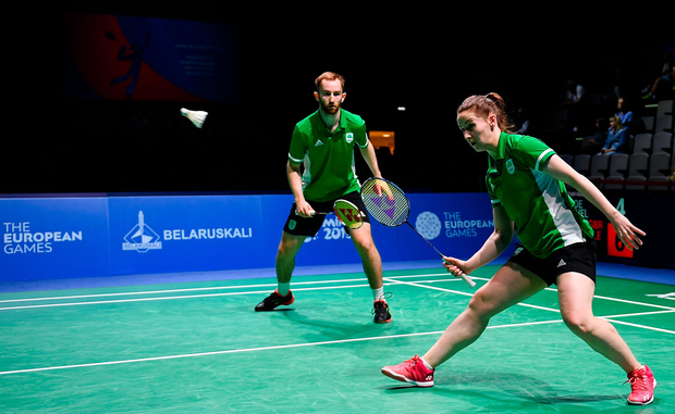 Chloe Magee and Samuel Magee of Ireland in action against Gabrielle Adcock and Chris Adcock during the Mixed Badminton Doubles semi-final match on Day 9 of the Minsk 2019 2nd European Games. Photo by Seb Daly/Sportsfile