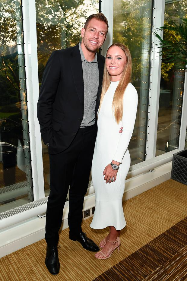 Caroline Wozniacki (R) and David Lee pose for a photo during the Dubai Duty Free WTA Summer Party 2019 at Jumeirah Carlton Tower on June 28, 2019 in London, England. (Photo by Eamonn M. McCormack/Getty Images for WTA )