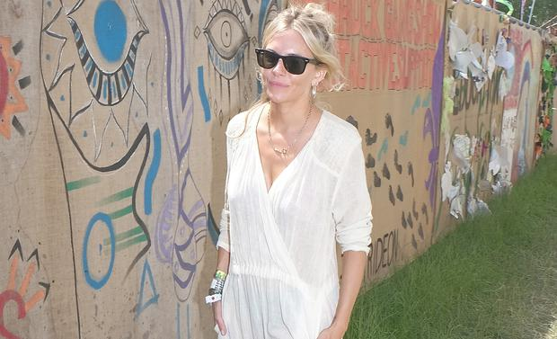 Sienna Miller attends day one of the Glastonbury Festival on June 28, 2019 in Glastonbury, England. (Photo by Mark Boland/Getty Images)