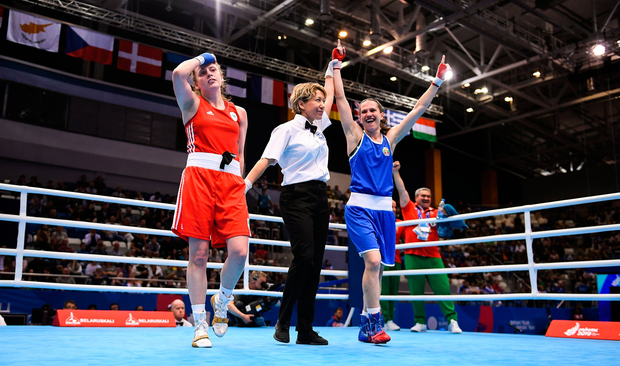 Michaela Walsh of Ireland, left, reacts as referee Veronika Szucs raises the hand of Stanimira Petrova of Bulgaria after their Womens Featherweight final bout at Uruchie Sports Palace on Day 9 of the Minsk 2019 2nd European Games. Photo by Seb Daly/Sportsfile