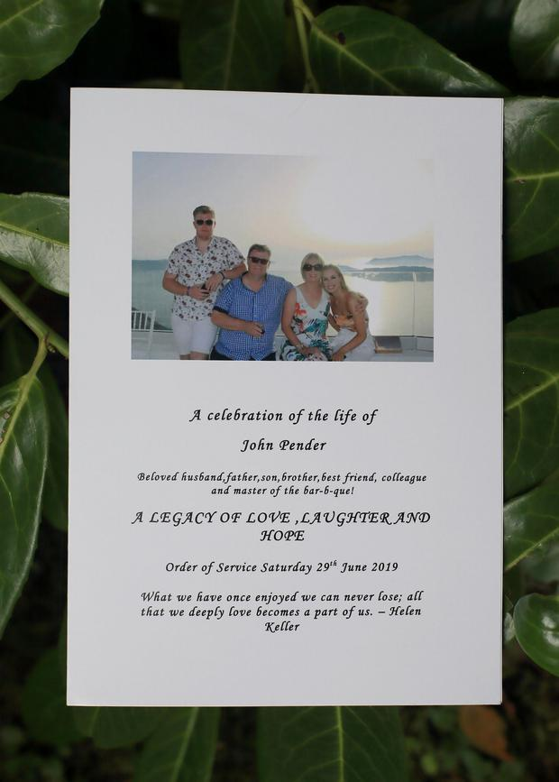 The booklet at the celebration of the life of John Pender ceremony in Killiney Castle. Picture: Frank McGrath