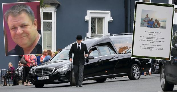 The hearse carring the remains of John Pender leaves Killiney Castle Hotel, centre, John Pender, left inset, and the booklet at his service, right inset. Picture: Frank McGrath