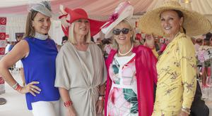 Annette Rocca, Anne Doyle, Breeda Mcloughlin & Celia Holman Lee at the Dubai Duty Free Irish Derby at the Curragh Racecourse, Co. Kildare. Picture: Anthony Woods