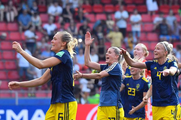 Sweden's players celebrate at the end of the France 2019 Women's World Cup quarter-final football match between Germany and Sweden, on June 29, 2019, at the Roazhon park stadium in Rennes, north western France. (Photo by Damien MEYER / AFP)DAMIEN MEYER/AFP/Getty Images