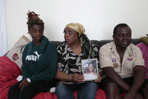 Family members of drowned victim 14-year-old Jill Amante (left), mother Mercy Amante, with aunty Jemima Sackey, and Jill's father Alex Amante at their home in Drogheda. Picture: Mick ONeill