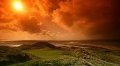 The green on the 166 yard par 3 known as 'Crater' at Lahinch. Photo: David Cannon