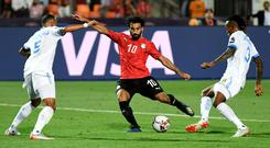 Egypt's forward Mohamed Salah scores against the DR Congo during his team's 2-0 victory in the African Cup of Nations. Photo: Khaled Desouki/AFP/Getty Images