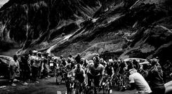 Riders reaching the summit of the Col du Tourmalet during the 19th stage of the Tour de France on July 27 last year. Photo: Philippe Lopez