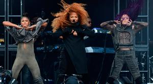 Janet Jackson performs on the Pyramid Stage on day four of Glastonbury Festival at Worthy Farm, Pilton on June 29, 2019 in Glastonbury, England. Glastonbury is the largest greenfield festival in the world, and is attended by around 175,000 people. (Photo by Leon Neal/Getty Images)