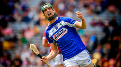 Aaron Dunphy of Laois celebrates scoring the second goal, in the 18th minute, of the Joe McDonagh Cup Final match between Laois and Westmeath at Croke Park in Dublin. Photo by Ray McManus/Sportsfile