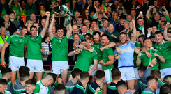 Limerick captain Declan Hannon and his team-mates celebrate with the cup after the Munster GAA Hurling Senior Championship Final win over Tipperary at LIT Gaelic Grounds in Limerick. Photo by Brendan Moran/Sportsfile