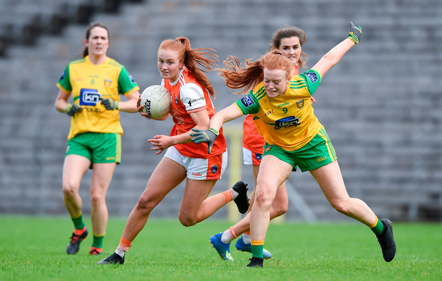 Blaithin Mackin of Armagh in action against Evelyn McGinley of Donegal. Photo by Ben McShane/Sportsfile