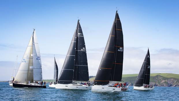 The starting-line for the Coastal Race fleet on the final day of racing at the O'Leary Life Sovereign's Cup. Photo: DAVID BRANIGAN/OCEANSPORT