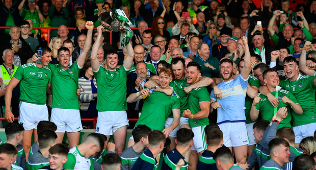 Declan Hannon and his Limerick team-mates celebrate with the cup after their Munster SHC final victory over Tipperary. Photo by Brendan Moran/Sportsfile