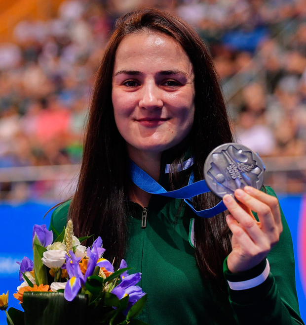 Kellie Harrington collects her silver. Photo: Seb Daly/Sportsfile