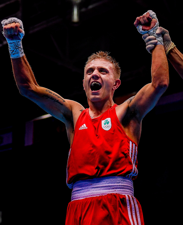 Kurt Walker celebrates victory in yesterday's bantamweight final. Photo: Seb Daly/Sportsfile