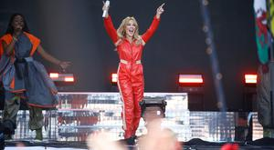 Meant so much to her: Kylie Minogue made several costume changes as she performed at Glastonbury yesterday. Photo: REUTERS/Henry Nicholls