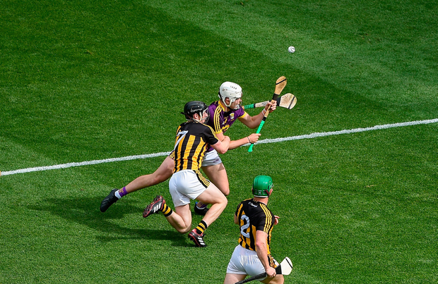 Rory O'Connor is fouled by Kilkenny's Enda Morrissey, resulting in a late penalty for Wexford. Photo by Daire Brennan/Sportsfile