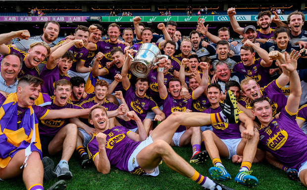 Wexford squad members and mentors celebrate with the O'Keeffe Cup on Croke Park after their victory over Kilkenny yesterday. Photo by Ramsey Cardy/Sportsfile