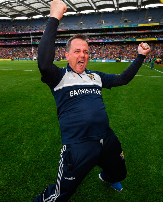 Wexford manager Davy Fitzgerald with a trademark celebration. Photo by Ramsey Cardy/Sportsfile