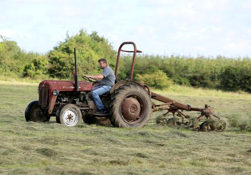 Making hay: Noel Davis from Carramore, Loughrea, Co Galway turning hay during last week's sunny spell. Photo: Hany Marzouk