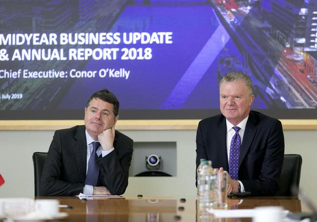 The National Treasury Management Agency has today published its 2018 Annual Report and delivered a midyear update for 2019. Pictured at the report launch were Minister for Finance Paschal Donohoe, TD, left, and NTMA Chief Executive Conor O'Kelly. Photo: Iain White - Fennell Photography
