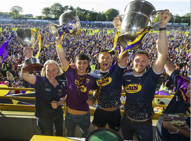 Wexford GAA Homecoming at Innovate Wexford Park where the Senior Leinster Hurling and Minor Champions and the Ladies Football winners arrived to a large crowd. Pictured are Mary Rose Kelly Ladies Football Captain, Minor Hurling Captain Richie Lawlor and Senior Hurling Captains Lee Chin and Matt O'Hanlon. Picture: Patrick Browne