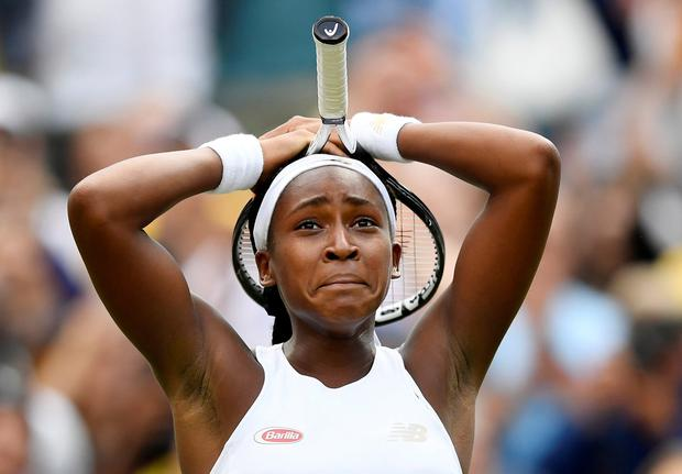 An emotional Cori Gauff celebrates her first-round win over Venus Williams. Photo: REUTERS/Toby Melville