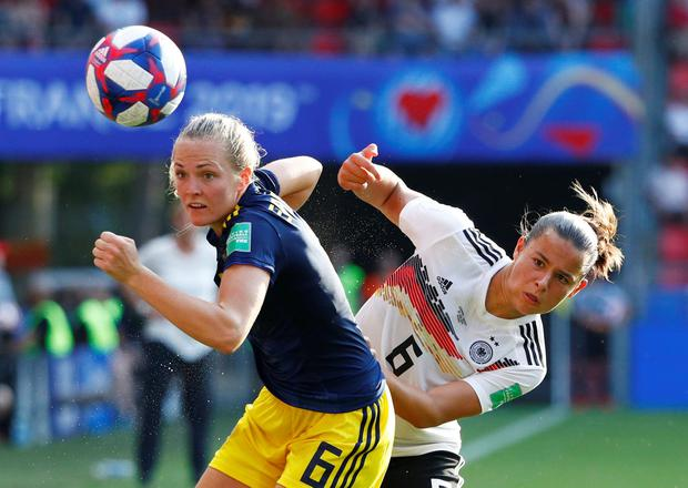 Prime time: Sweden's Magdalena Eriksson and Germany's Lena Oberdorf during the quarter-finals of the Women's World Cup. England play the USA in tonight's first semi-final, with Sweden taking on the Netherlands tomorrow. Photo: REUTERS/Emmanuel Foudrot