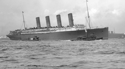 The Lusitania, which was sunk off the Old Head of Kinsale