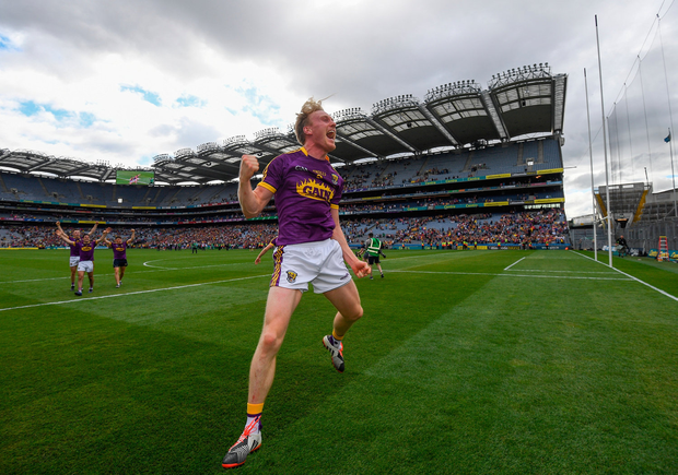 Wexford's Diarmuid O'Keeffe, here celebrating Leinster final success in Croke Park on Sunday, insists he and his team-mates won't be resting on their laurels. Photo: Ramsey Cardy/Sportsfile