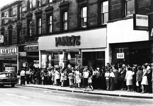 Queues outside Penneys for a sale in the early days