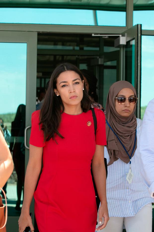 Rep. Alexandria Ocasio-Cortez walking out from the El Paso Border Patrol Station #1 in El Paso Texas. Photo by Christ Chavez/Getty Images